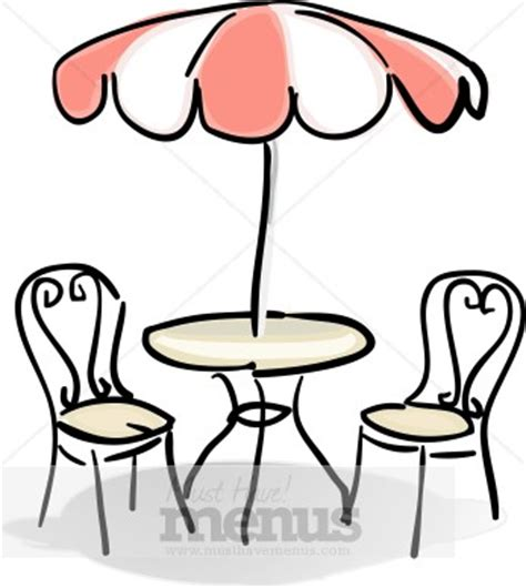 cafe table with and white umbrella clipart cafe clipart
