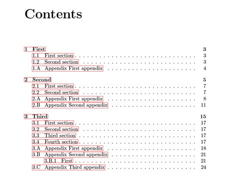 appendix in dissertation thesis table of contents including chapter specific