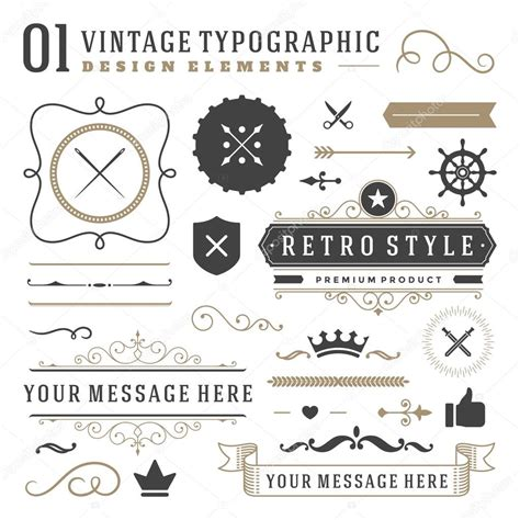 vintage vector design elements retro style typographic retro vintage typographic design elements stock vector