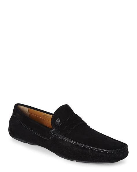 just for shoes just cavalli black suede driving shoes in black for lyst