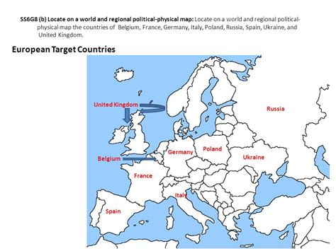 locate germany on world map ss6g8 locate selected features of europe ppt