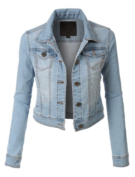 light blue denim jacket le3no womens denim jacket with pocket le3no