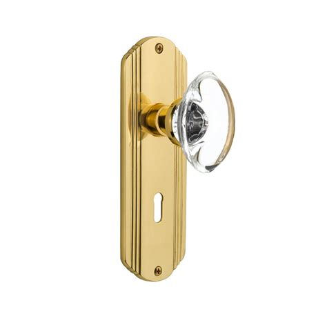 Unlacquered Brass Door Knob by Nostalgic Warehouse Deco Plate Interior Mortise Oval Clear