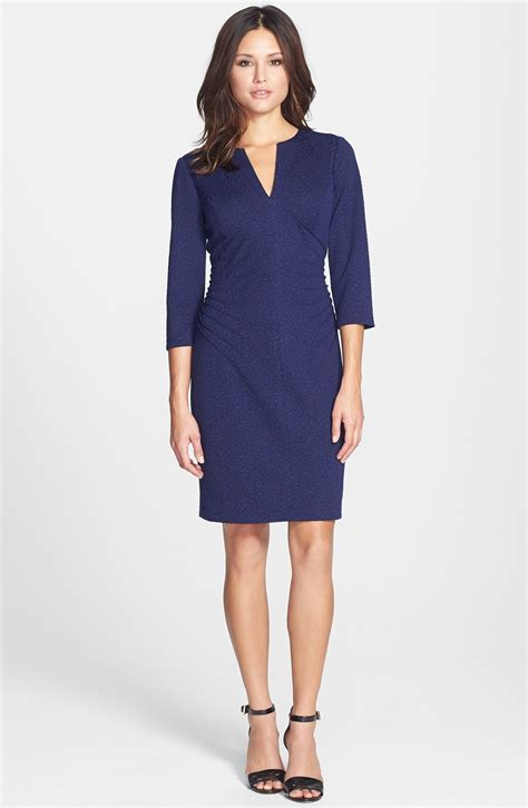 ponte knit dress papell textured ponte knit sheath dress in blue