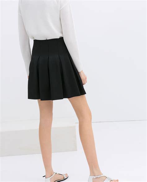 Zara Skirt zara pleated skirt in black lyst