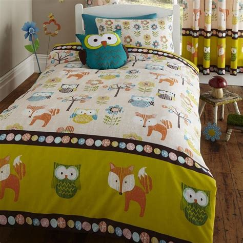 fox bedding woodland creatures double duvet cover set new owl fox