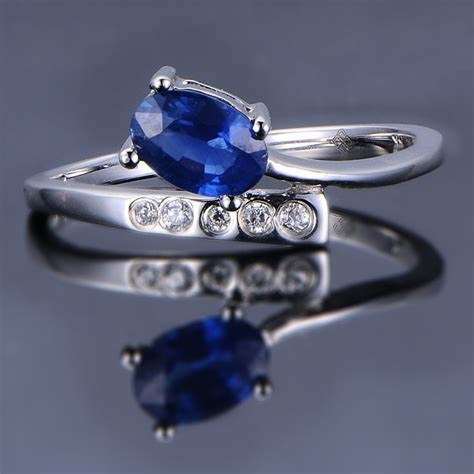unique sapphire engagement ring on 10k white gold