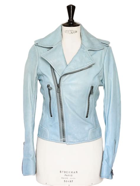 blue motorcycle jacket louise paris balenciaga light blue leather biker moto
