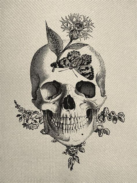 skull collage tattoo designs butterfly skull engraving digital collage graphic fabric