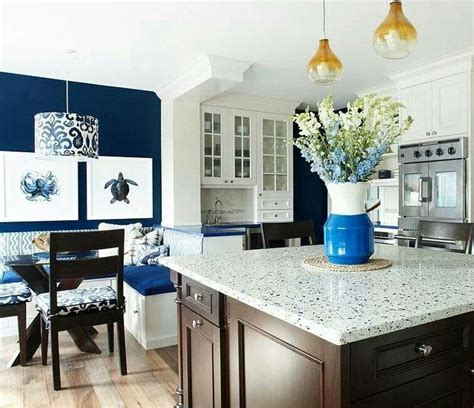 dark blue kitchen walls nautical kitchen white cabinets light counter tops dark