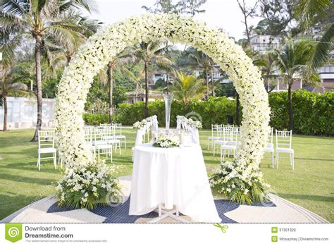 Wedding Aisle Set Up by Wedding Set Up In Garden Inside Royalty Free Stock