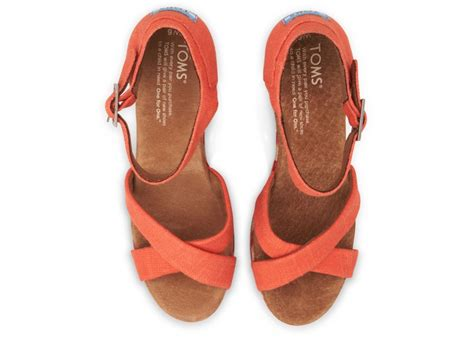lyst toms coral mixed rope womens strappy wedges  orange