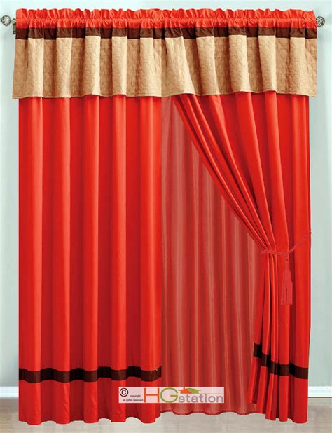 Orange Patterned Curtains 4 Pc Moroccan Quatrefoil Trellis Striped Curtain Set Orange Brown Valance Drape