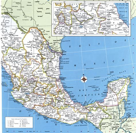 map of mexico and cities mexico detailed map