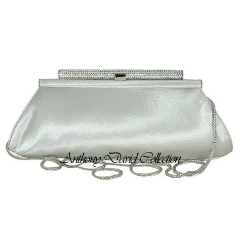 Clutch Original Swarovski silver satin swarovski clutch purse handbag