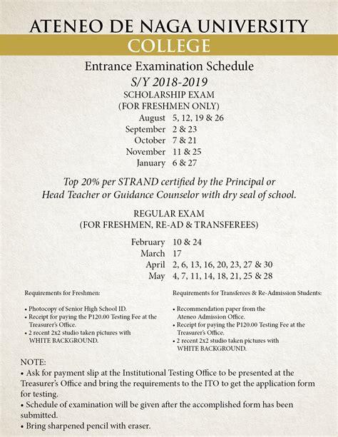 Mba Ateneo Entrance by Entrance Examination Schedules Ateneo De Naga
