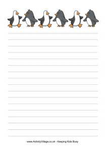 Paper With Children - penguins writing paper