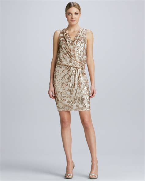 gold draped dress david meister draped sequined cocktail dress in gold nude