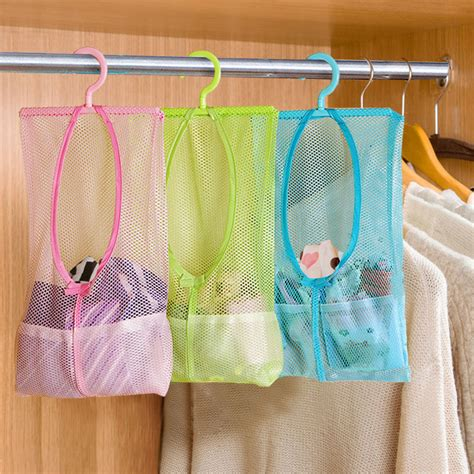 Mesh Bag Organizer multi function space saving hanging mesh bags clothes