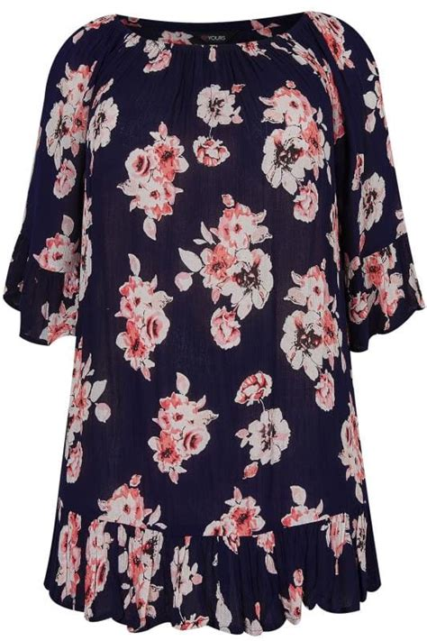 Grosir Blouse Atasan Singlet At 261 V Top Hight Quality navy pink floral print top with bell sleeves plus size 16 to 36