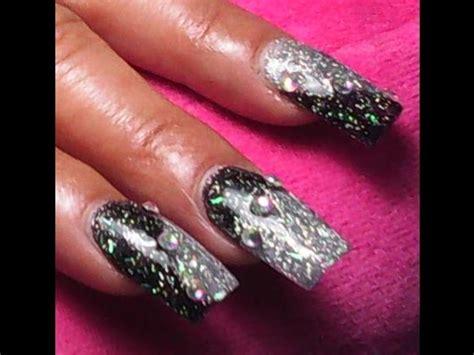 imagenes uñas negro con dorado u 241 as en color negro y plata brillante youtube