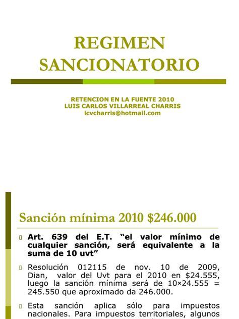 valor de la sancion minima en colombia dian 2016 regimen sancionatorio