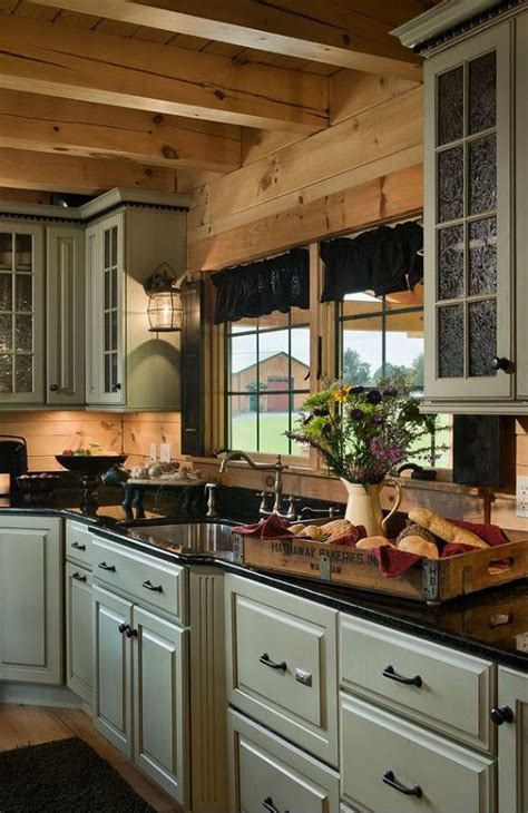 rustic green kitchen cabinets best 25 log cabin kitchens ideas on pinterest log home