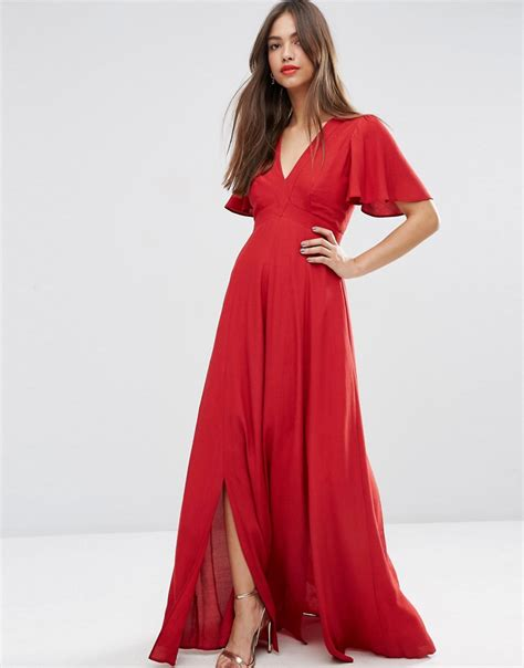 Prety Mini Maxy by Pretty Maxi Dress With Ruffle Sleeve By Asos