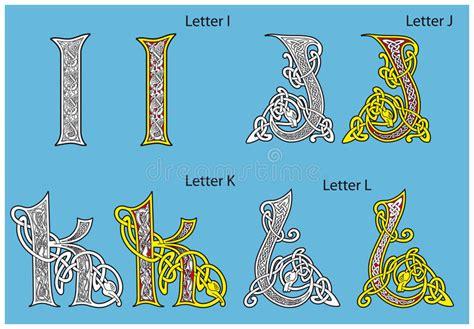 alfabeto celtico lettere alfabeto celtico antico illustrazione vettoriale immagine