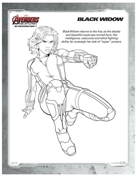avengers coloring pages pdf marvel avengers black widow printable coloring page