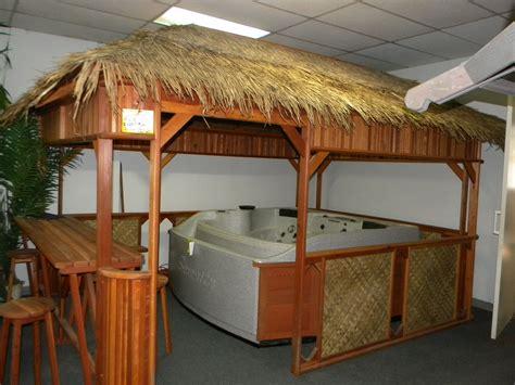 tiki hut gazebo tiki gazebo with double bar bar backyard and jacuzzi