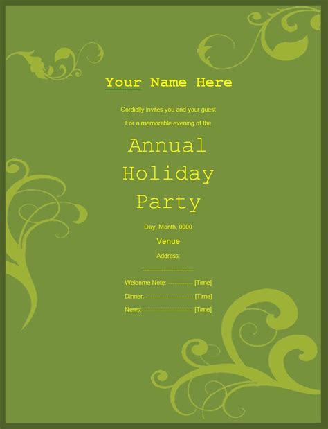 party invitation templates free printable word templates