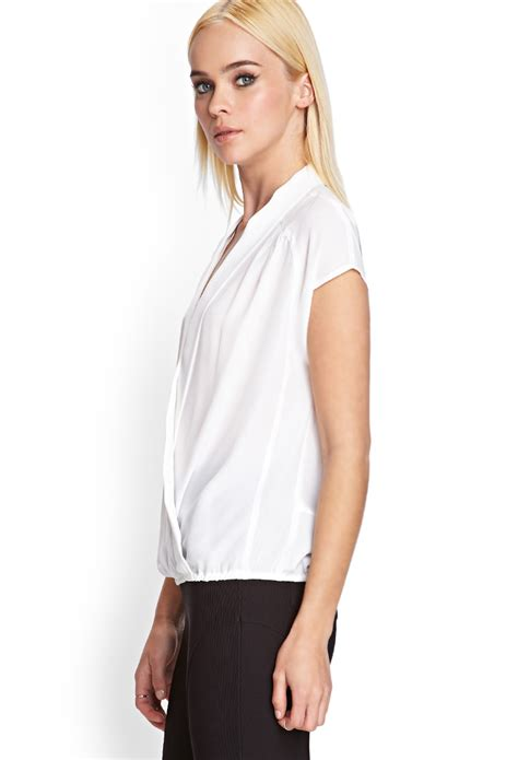 Forever 21 Blouse Murah Forever 21 V Draped Blouse In White Lyst