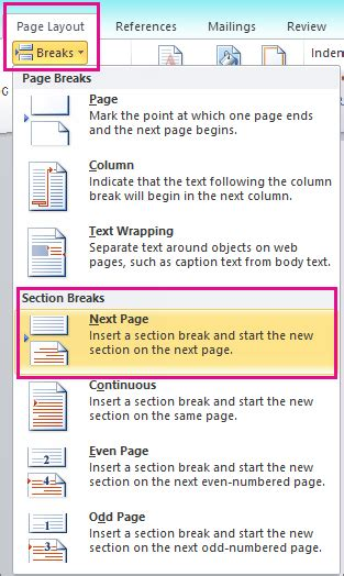 number to section 8 office add page numbers to your word 2010 document office support