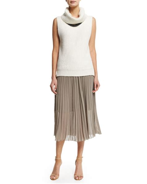 peserico accordion pleated chiffon midi skirt