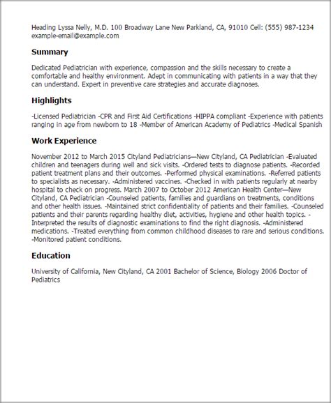Pediatric Resume by Pediatrician Resume Template Best Design Tips