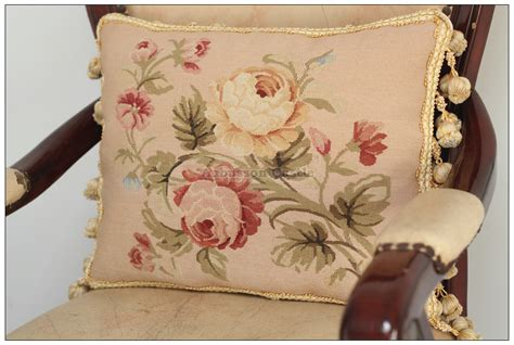 a pair chic aubusson pillow pastel pink chair sofa