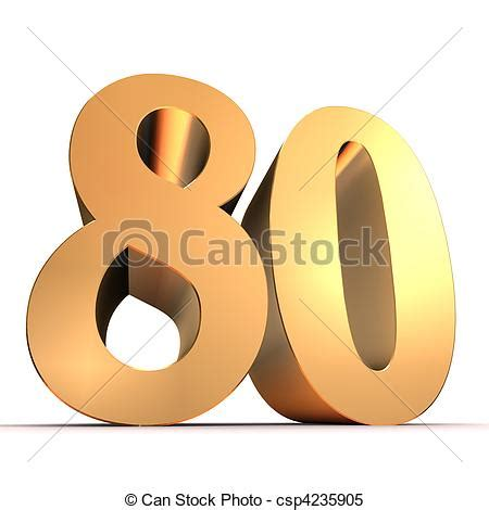 Happy New Year Cake Decoration by Stock Illustrations Of Golden Number 80 3d Rendered
