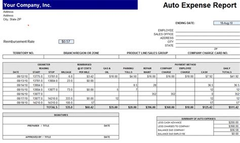 Expense Report Template Excel 2010 by Easy To Use Free Auto Expense Report Expense Reports