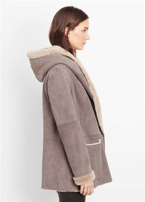 shearling drape coat vince shearling drape coat with hood in gray lyst