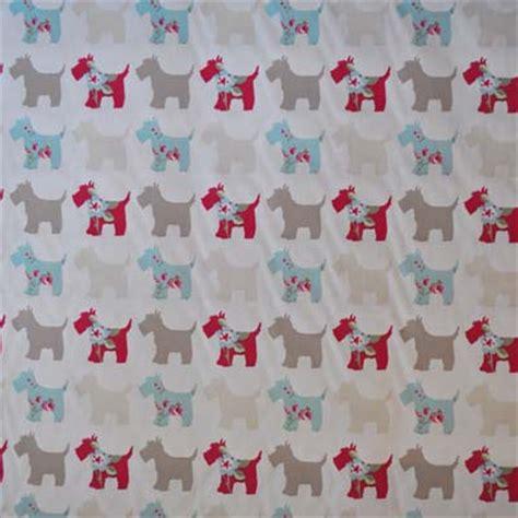 scottie dog curtains dotty seafoam white dot on aqua fabric