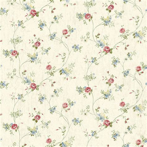 brewster persimone red floral wallpaper