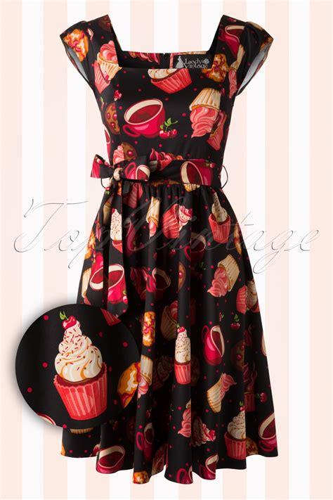 swing 50s 50s cupcake swing dress in black