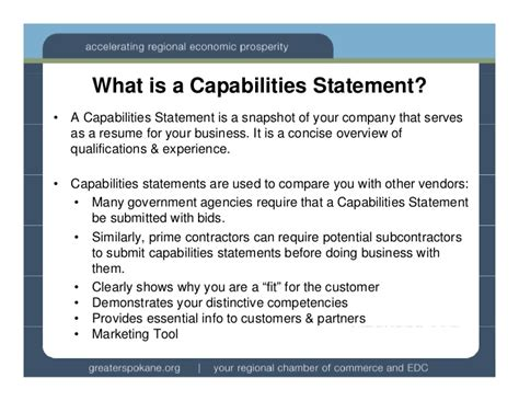 Capabilities Statements Wa Ptac Financial Capability Statement Template
