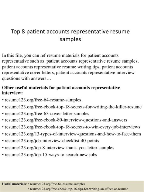 top 8 patient accounts representative resume sles
