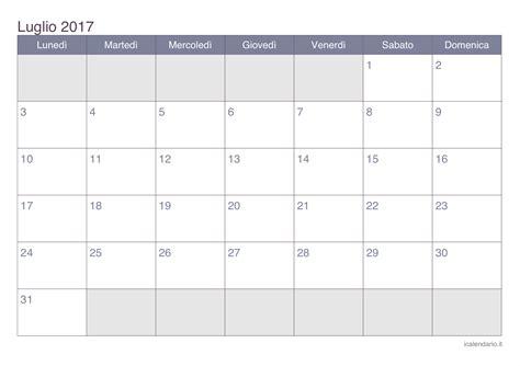 Calendario 2017 Office Calendario Luglio 2017 Da Stare Icalendario It