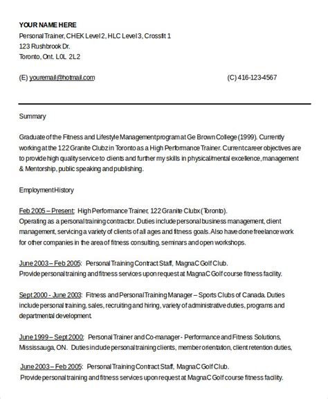 personal trainer resume template 8 personal trainer resume templates pdf doc free