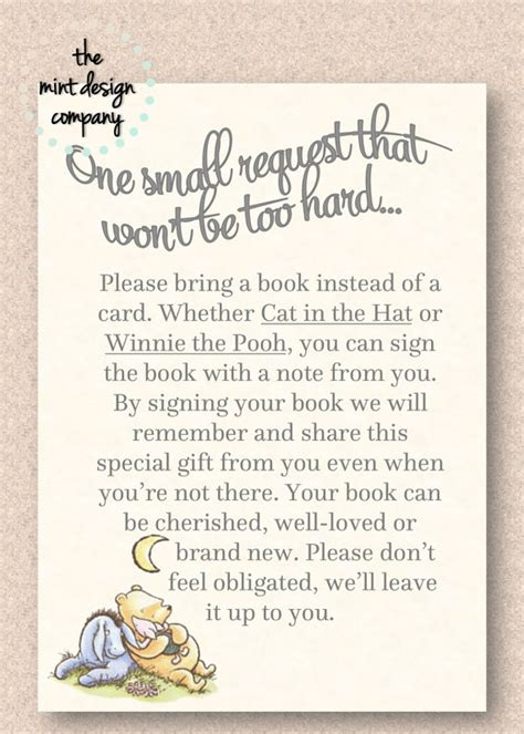 Baby Shower Poems by Classic Winnie The Pooh Baby Shower Book Poem Insert