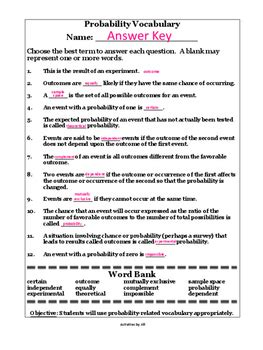 Probability Worksheet Answers by Probability Terms Worksheet With Word Bank By Activities