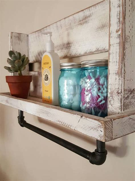 bathroom shelving ideas for towels rustic bathroom shelf with pipe towel hanger by
